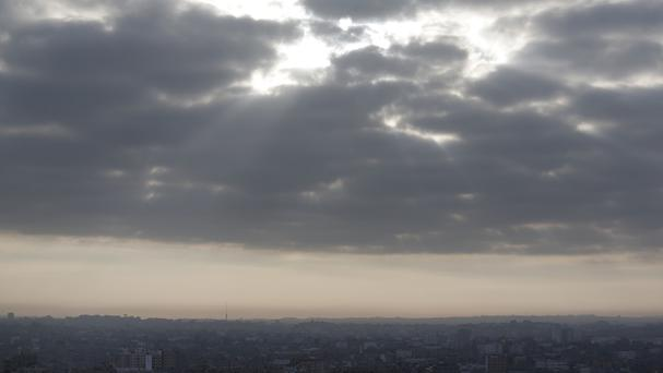 Clouds above Gaza City after Israel and militant group Hamas accepted an Egyptian ceasefire proposal (AP Photo/Lefteris Pitarakis)