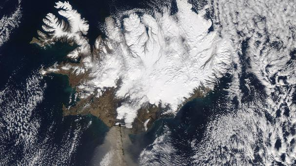 This picture captured by a satellite shows ash billowing from the Eyjafjallajkull volcano in Iceland in 2010