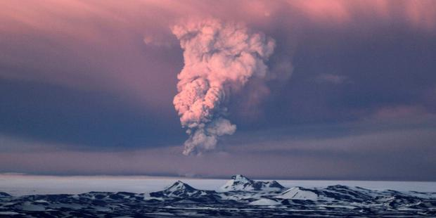 LAST TIME: Iceland's seismic history has not endeared it to the world's airlines. In this photo taken on Saturday, May 21, 2011, smoke plumes from the Grimsvotn volcano, which lies under the Vatnajokull glacier, about 120 miles, (200 kilometers) east of the capital, Rejkjavik, which began erupting Saturday for the first time since 2004. Iceland closed its main international airport and canceled domestic flights Sunday as a powerful volcanic eruption sent a plume of ash, smoke and steam 12 miles (20 kilometers) into the air (AP Photo/Jon Gustafsson)