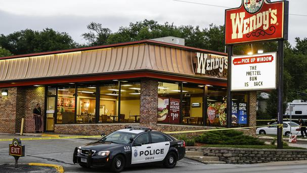 The Wendy's restaurant in Omaha where a sound operator with the Cops reality TV show was killed accidentally by police tackling a robbery (AP)