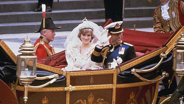 A slice of Diana, Princess of Wales' 1981 wedding cake has sold at an LA auction for £833. (AP)