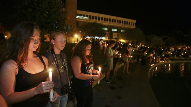 Students at a candle light vigil at the University of Central Florida to honour Steven Sotloff, who attended between 2002 and 2004 (AP)