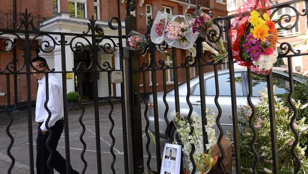 Flowers laid outside the Dutch Embassy in London, to remember the passengers killed on Malaysian Flight MH17
