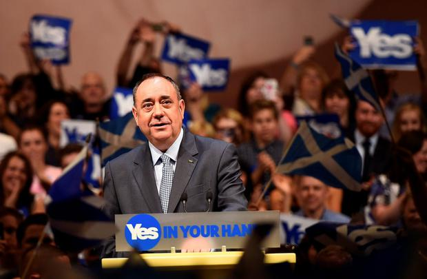 Scotland's First Minister Alex Salmond speaks at a Yes campaign rally in Perth