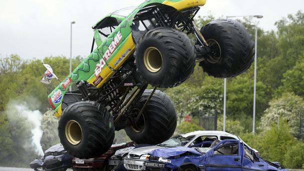 A monster truck lost control and veered into the crowd