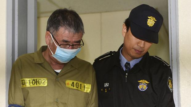 Lee Joon-seok, the captain of the South Korean ferry Sewol, arrives at court (AP)