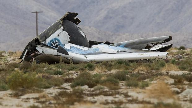 The wreckage of the Virgin Galactic space tourism rocket, SpaceShipTwo, which crashed in the Mojave Desert (AP)
