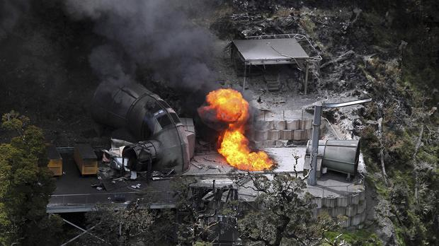 Flames erupt from a ventilation shaft above the Pike River mine after the deadly blast (NZPA/AP)