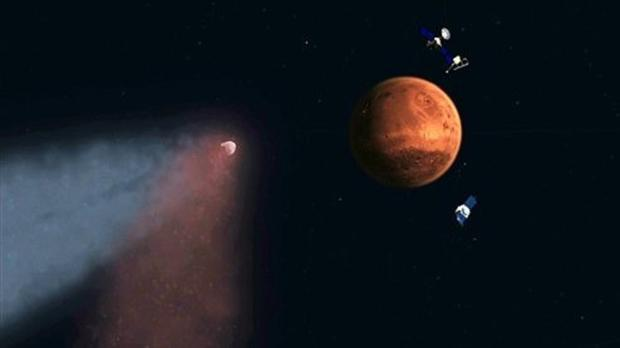 This handout artist's concept provided by Nasa/JPL shows the Comet Siding Spring approaching Mars (AP/Nasa/JPL)