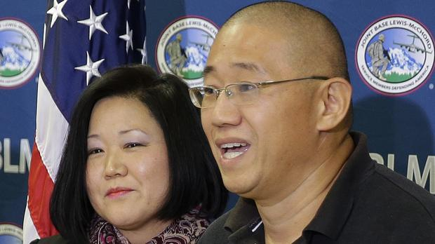 Kenneth Bae, pictured with his sister Terri Chung, says he bears no ill will towards North Korea (AP)