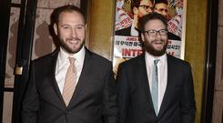 Seth Rogen, right, and director Evan Goldberg at the premiere of The Interview in Los Angeles. (AP)