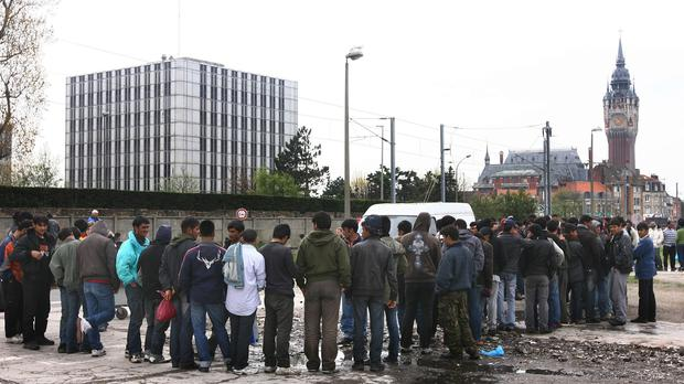 The clashes are thought to have broken out during a queue for food at a camp in Calais