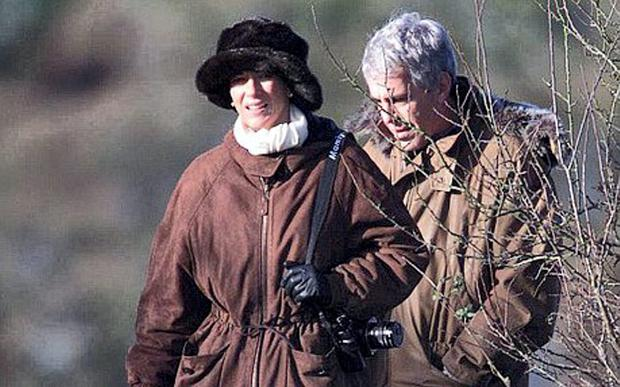 Ghislaine Maxwell and Jeffrey Epstein on a pheasant shoot with Prince Andrew in Norfolk, at the start of a weekend house party at Sandringham House in December, 2000 (Alban Donohoe / Albanpix.com)