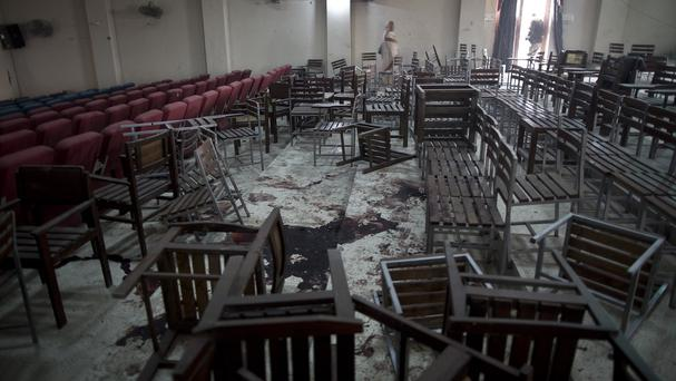 The aftermath of the attack on the school by Taliban gunmen in Peshawar. (AP/Time Magazine)