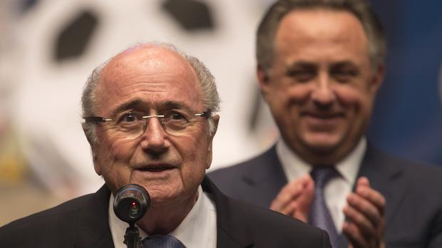 Fifa president Sepp Blatter with Russian sports minister Vitaly Mutko. (AP)