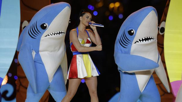 Katy Perry and fishy friends perform during the Super Bowl half-time show (AP)