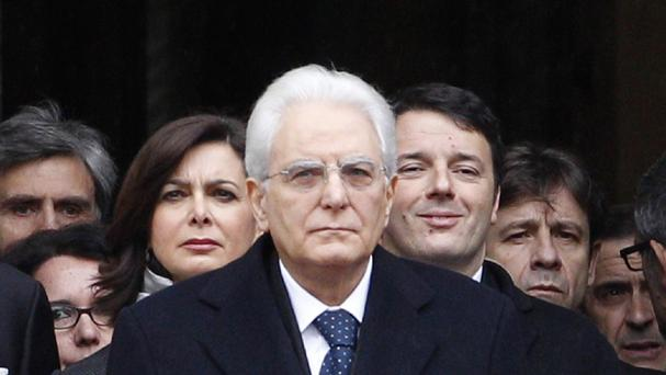Newly elected Italian President Sergio Mattarella leaves at the end of his swearing-in ceremony at the Lower Chamber in Rome (AP)