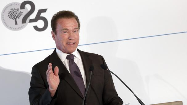Former California governor and Hollywood star Arnold Schwarzenegger delivers a speech at the sideline of the 51. Security Conference in Munich, Germany (AP)