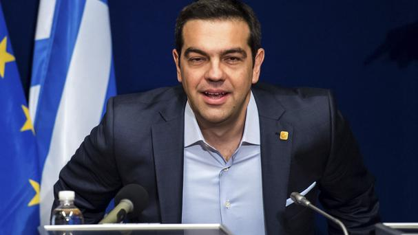 Greek prime minister Alexis Tsipras at the EU summit in Brussels (AP)