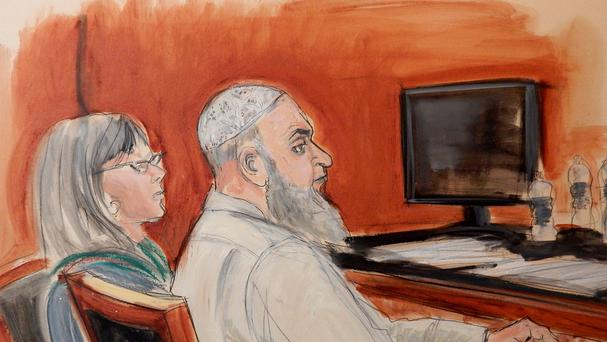 Courtroom sketch of Khaled al-Fawwaz, right, a defendant in the 1998 bombings of the US embassies in Kenya and Tanzania that killed 224 people (AP)