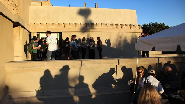 Thousands queued for hours to see the reopened Hollyhock House in Los Angeles, designed by architect Frank Lloyd Wright (AP)