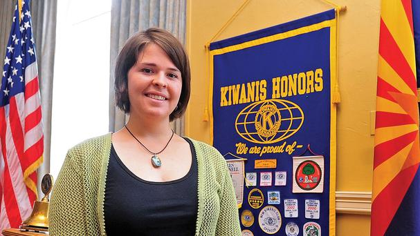 Kayla Mueller speaking to the Prescott Kiwanis Club about the situation in Syria and efforts to build a second camp for Syrian refugees in Turkey, in Prescott, Arizona Photo: EPA