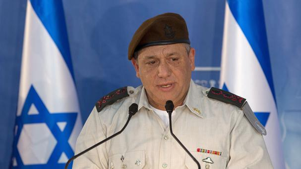 New Israeli military chief of staff Gadi Eizenkot speaks during a ceremony at the prime minister's office in Jerusalem (AP)