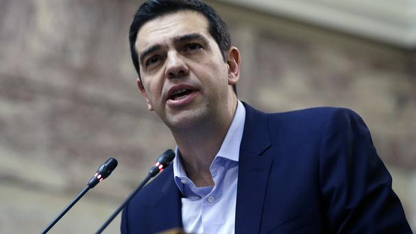 Alexis Tsipras delivers a speech to his party's lawmakers at the parliament in Athens. (AP)