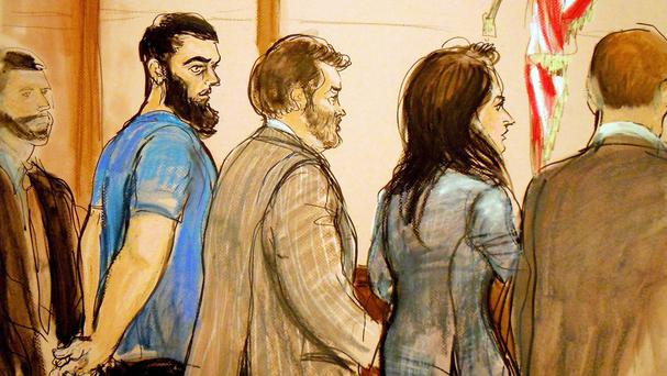 Artist's drawing of Abid Naseer facing Brooklyn Federal Court. (AP/Elizabeth Williams)