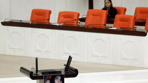 The fighting took place during a closed-door session at the parliament in Ankara. (AP)