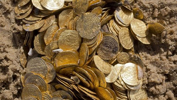 The Fatimid period gold coins were found in the Mediterranean Sea. (AP)