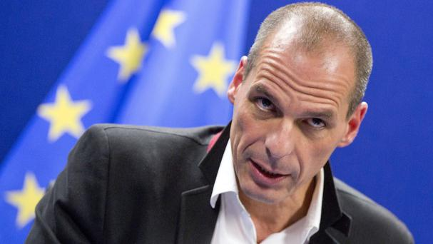 Greek finance minister Yanis Varoufakis after a meeting of eurozone finance ministers in Brussels (AP)