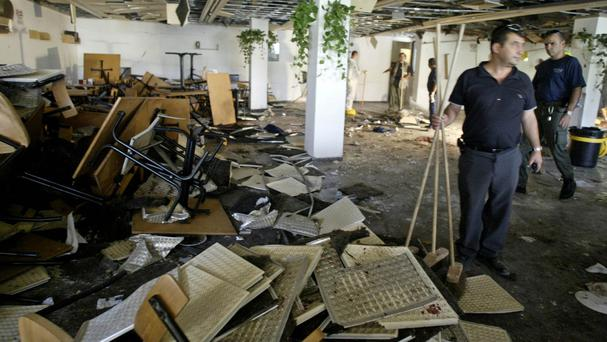 The aftermath of a 2002 bombing at Hebrew University in Jerusalem, at the centre of the US court case. (AP)