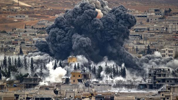 The US military said coalition aircraft carried out 11 airstrikes against IS in Hassakeh