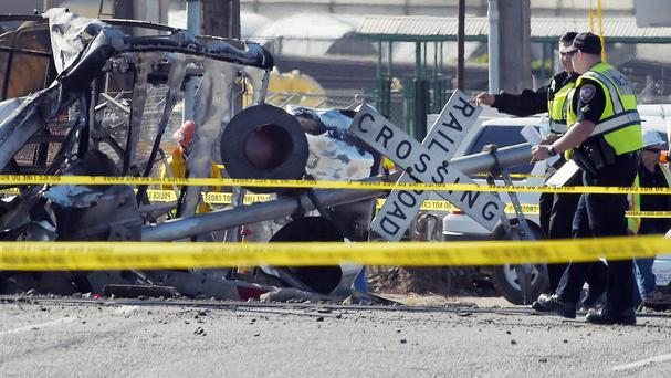 The aftermath of the crash involving a train and a pick-up truck at a level crossing in Oxnard, California (AP)