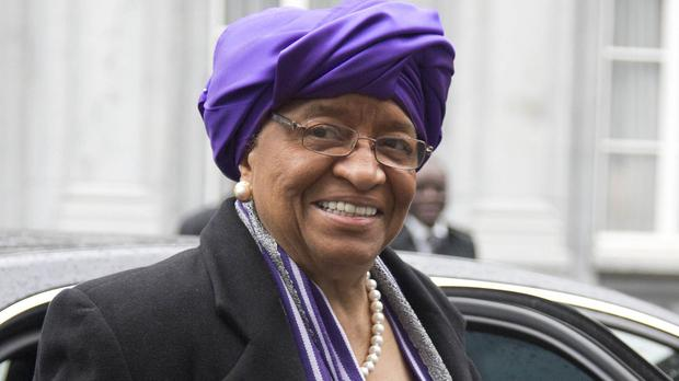 Liberian president Ellen Johnson Sirleaf arrives for a conference on Ebola at the Egmont Palace in Brussels (AP)