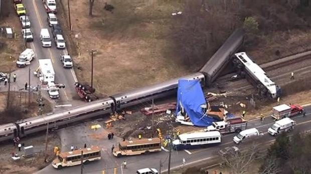 Authorities respond to a collision between an Amtrak passenger train and a truck in North Carolina (AP/WTVD-11)