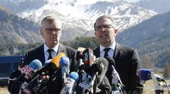 CEO of Germanwings Thomas Winkelmann, left, and Lufthansa CEO Carsten Spohr attend a press conference near the site of the crash in Le Vernet, France (AP)