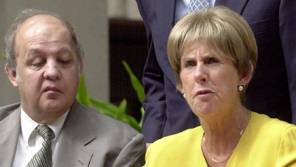 Sarah Brady and her husband former White House press secretary James Brady seen during a news conference in Miami in October 2000 (AP)