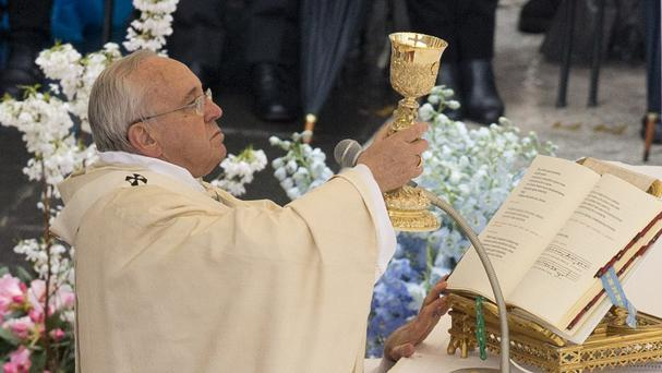 Pope Francis celebrates an Easter Mass in St Peter's square (AP)