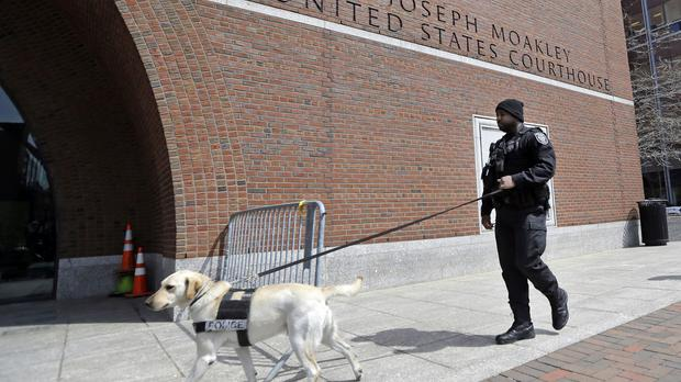 A police officer on patrol as closing arguments were made in the federal death penalty trial of Boston Marathon bombing suspect Dzhokhar Tsarnaev (AP)