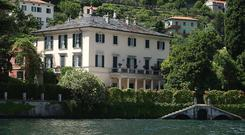 A lakeside view of George Clooney's 18th-century villa Oleandra in Laglio on Lake Como, northern Italy (AP)
