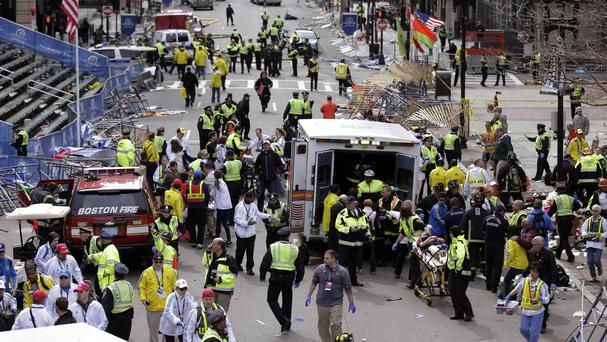 Carnage at the finish line of the 2013 Boston Marathon after the bombing by Dzhokhar Tsarnaev and his brother Tamerlan (AP)