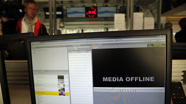 A computer screen is pictured at TV5 Monde after the French television network was hacked by people claiming allegiance to Islamic State (AP)