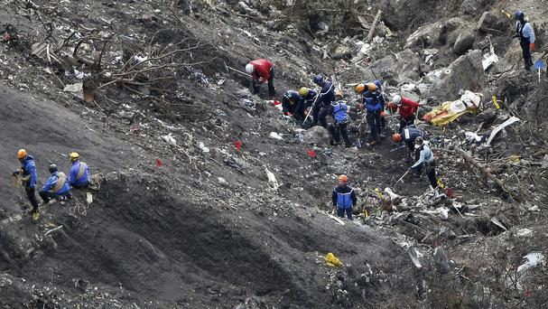 Debris from the Germanwings jet at the crash site near Seyne-les-Alpes, France (AP)