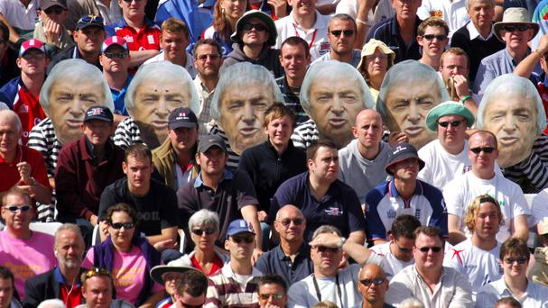 Fans wear Richie Benaud masks during the England-Australia Ashes npower Fourth Test at Trent Bridge