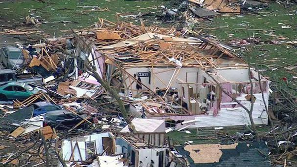 Buildings were completely devastated by the tornado in Fairdale (ABC 7 Chicago WLS-TV/AP)