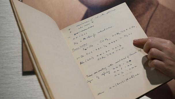 Code-breaker Alan Turing's notebook is expected to fetch at least one million dollars at a New York auction (AP)