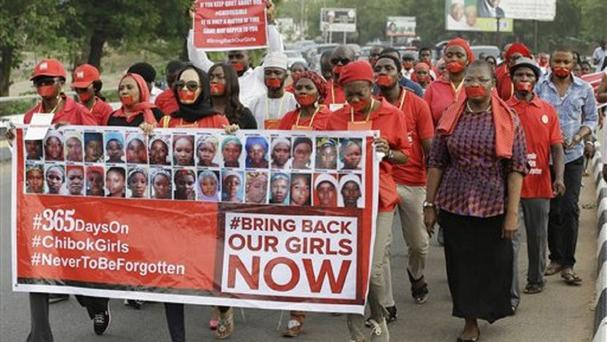 A silent protest calling on the Nigerian government to rescue the kidnapped girls from Chibok. (AP)