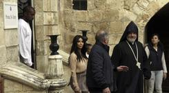 Kim Kardashian was visiting Israel on a private visit. (AP)